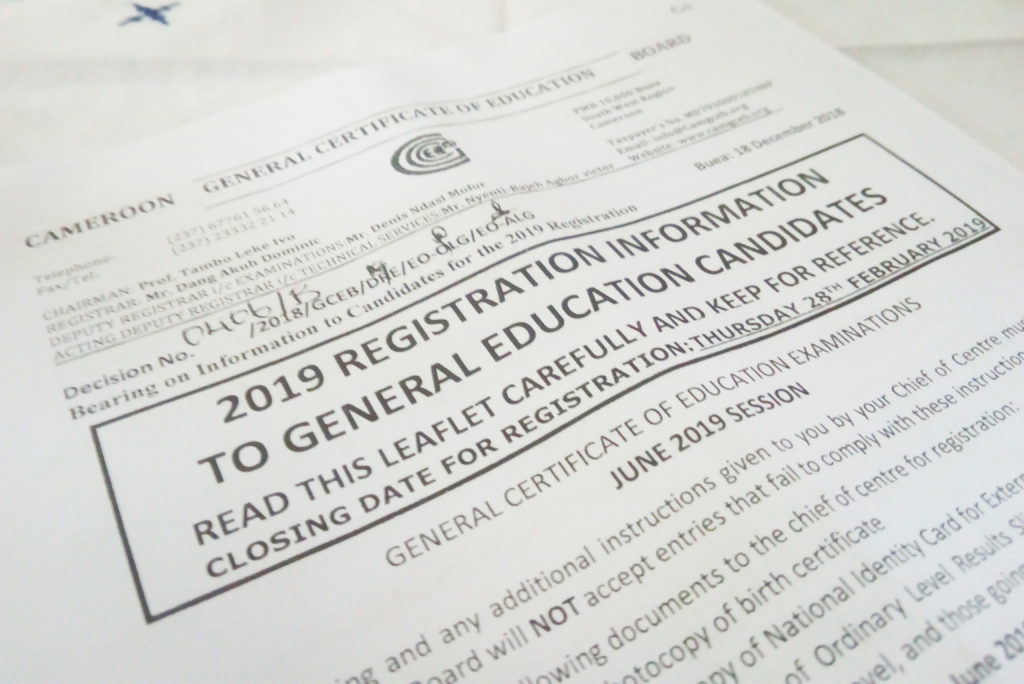 GCE General Examination 2019 Registration Information To