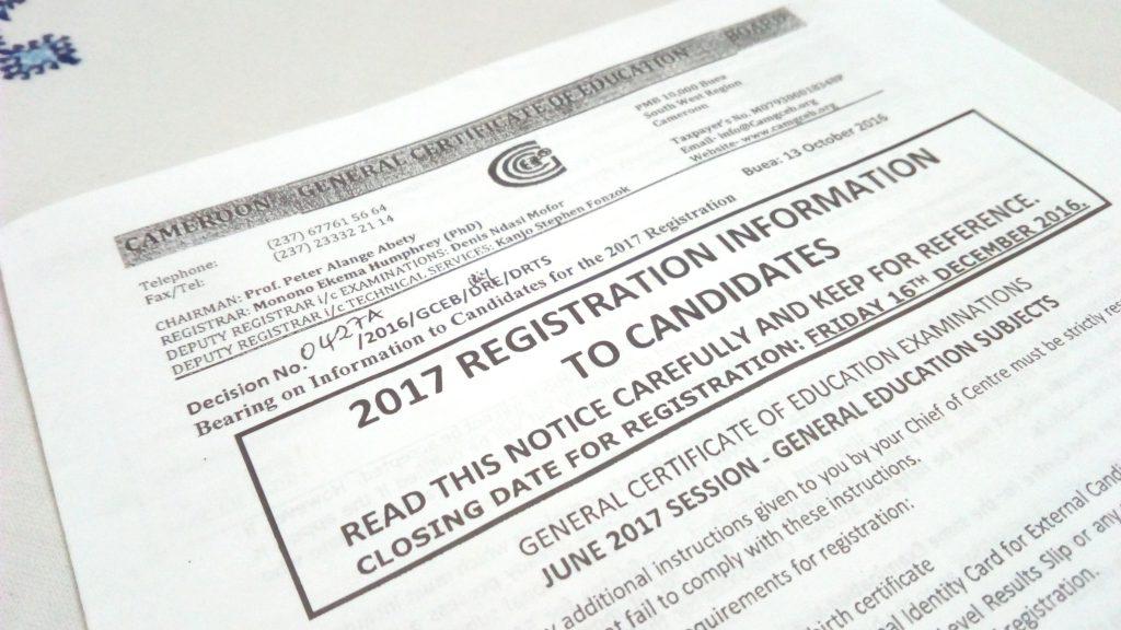 Registration Of June 2017 General Certificate Of Education