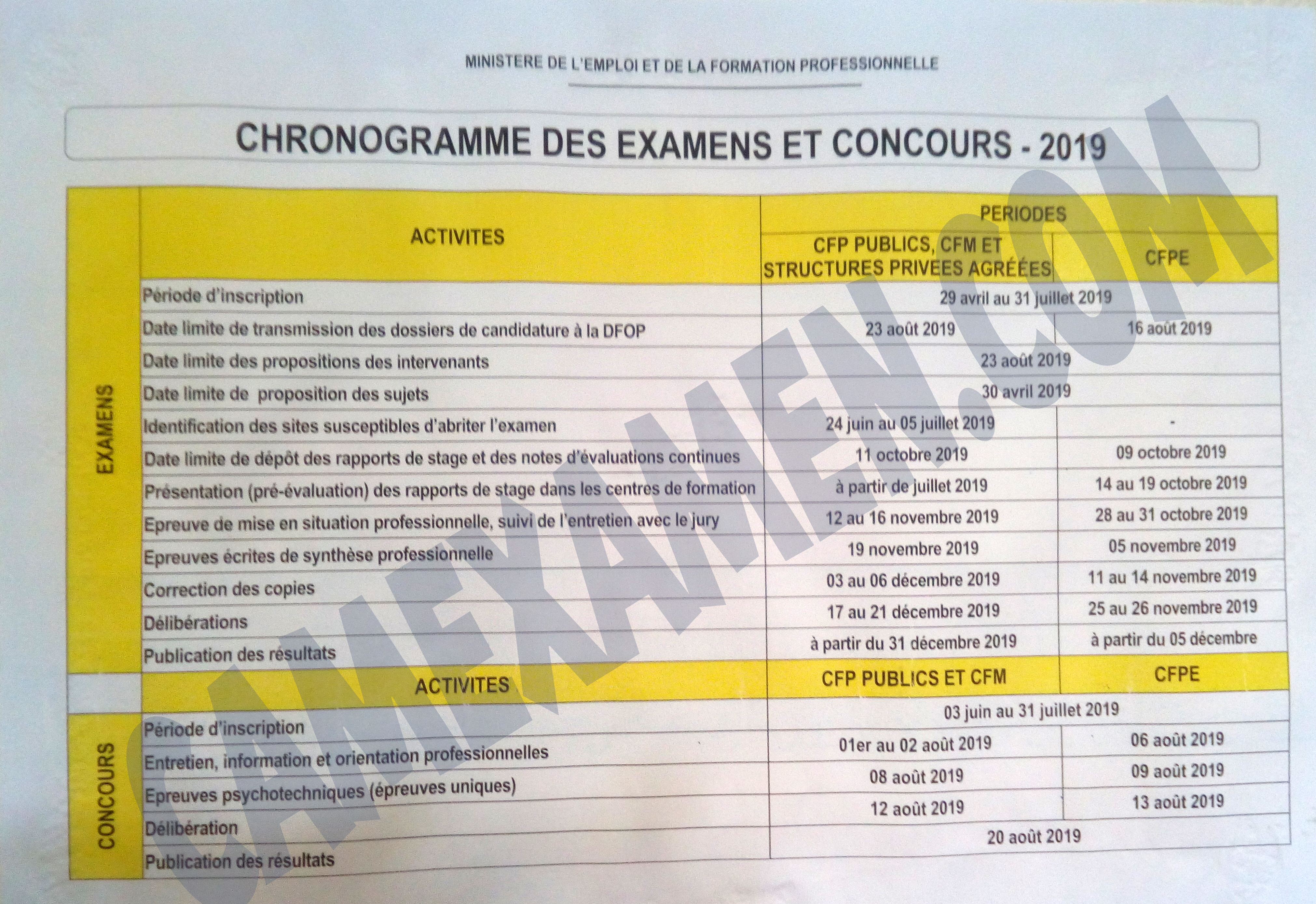 Concours Calendrier.Calendrier Concours 2019