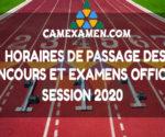 Horaires de passage Examens 2020